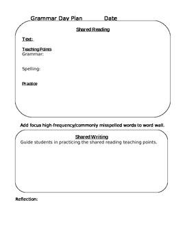Grammar Day Lesson Plan Template