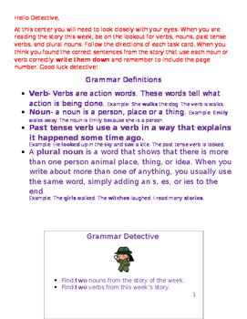 Grammar Detective Center L.2.1 L.3.1