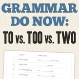 "Grammar Do Now - Use Popular Songs to Teach Homophones: ""T"