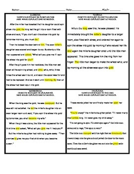 4 day Grammar Editing with the Fable of Rumpelstiltskin (Warm-up)