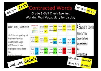 Grammar English grade 1 - Contracted words