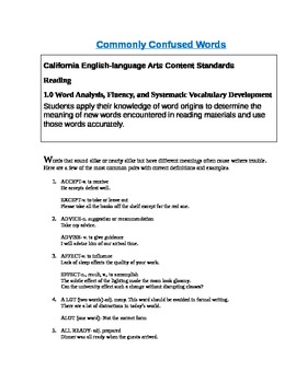 Grammar Exercise Commonly Confused Words