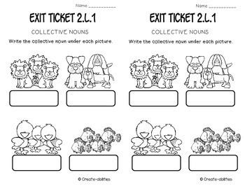 Grammar and Parts of Speech Exit Tickets 2nd Grade