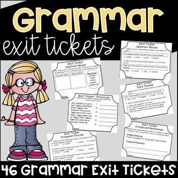 Grammar Exit Tickets Assessments {Exit Slips}