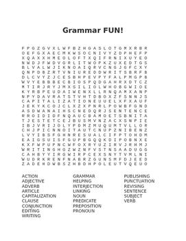 Grammar FUN Word Search
