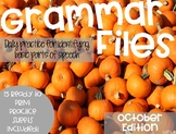 October Grammar Files: A Spiral Review DIGITAL AND PRINT