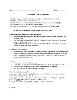 Grammar Final Study Guide