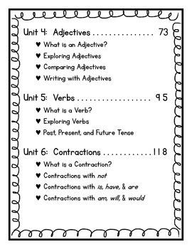 Grammar:  First Grade Printables and Anchor Charts