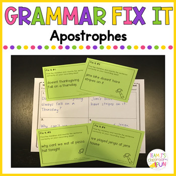 Apostrophes Task Cards #falldollardays