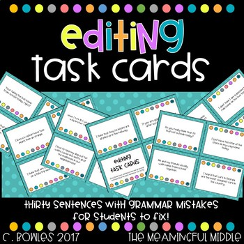 Sentence Editing Task Cards (common grammar mistakes)