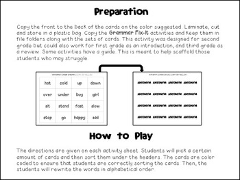 Grammar Fix-Its: Second Grade Common Core Language Activities