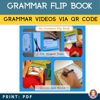 Grammar Flip Book with 9 QR Codes linking to Grammar Songs - Common Core Aligned