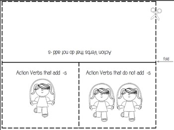 Grammar Foldable - Action Verbs that Do Not Add -S