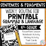Grammar Fourth Grade Activities: Complete Sentences and Fragments