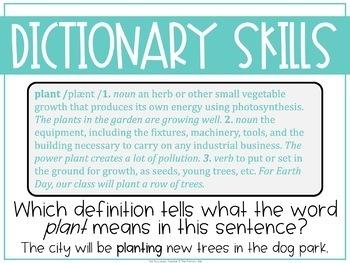 Grammar Fourth Grade Activities: Dictionary Skills