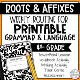 Grammar Fourth Grade Activities: Roots and Affixes