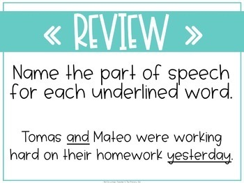 Grammar Fourth and Fifth Grade Activities: Unit 1 Review