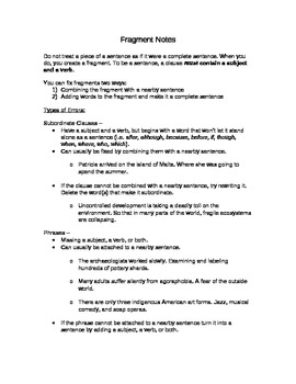 Grammar - Fixing Fragments - Notes and Worksheet