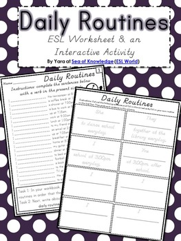 Grammar Fun {Daily Routines ESL} Grades 6-12 / Adults