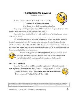 Identifying Adverbs: Grammar Practice Fun (7 Pgs., Ans. Key, 2 Posters, $3)