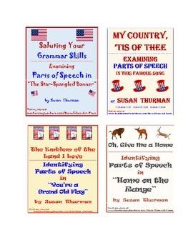 Grammar Practice: Parts of Speech Bundle of Patriotic Songs (8 P., Ans. Key, $5)