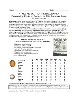 """Grammar Practice: Parts of Speech in """"Take Me Out To the Ballgame"""""""