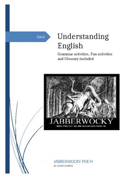 "Grammar Fun Workbook using ""Jabberwocky"" by Lewis Carrol"
