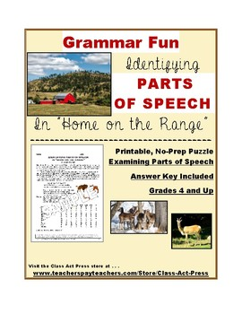 """Grammar Practice: Parts of Speech in """"Home on the Range"""" ("""