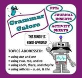 Grammar Galore PPT + Printables bundle –using articles & homonyms