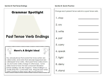 Past Tense Verb Endings Interactive Grammar Practice