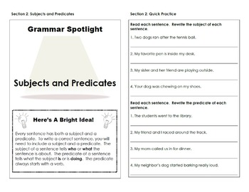 Subjects and Predicates Interactive Grammar Practice