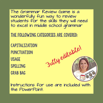 Grammar Review Game-Middle School/Great for beginning of the year!!