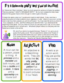 Grammar Game for Adjectives, Nouns, and Verbs