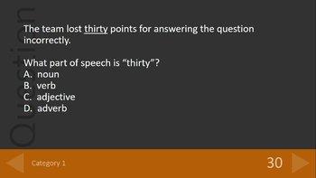 Grammar Game The Parts of Speech
