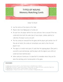Grammar Game - Types of Nouns Memory Cards