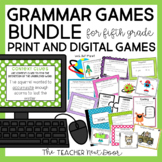 5th Grade Grammar Games Bundle Print and Digital Distance