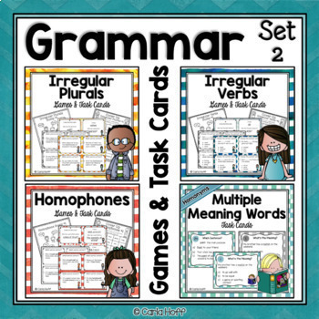 GRAMMAR GAMES BUNDLE  Homophones, Homonyms, Irregular Verbs & Plurals