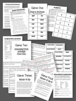 grammar games ii fused sentences by room 213 tpt. Black Bedroom Furniture Sets. Home Design Ideas