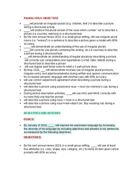 Speech Therapy-Grammar Goals & Objectives