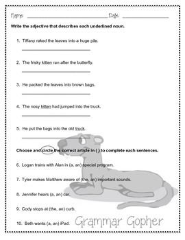 Grammar Gopher: Adjectives and Articles Practice
