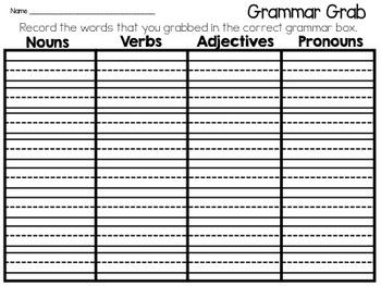 Grammar Grab: Parts of Speech Game
