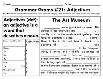 Grammar Grams (21-25): Adjectives