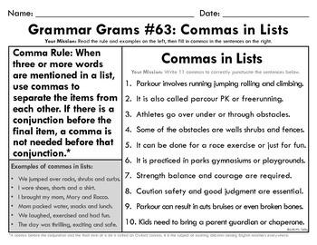 Grammar Grams (61-75): Comma Rules
