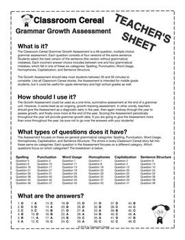 Grammar Growth Assessment Teacher's Sheet