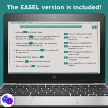 Adjective Clauses: (Relative Clauses) Grammar Guide with Worksheets