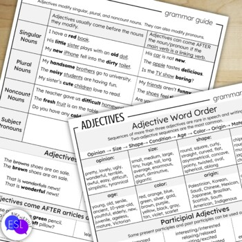Adjectives: Grammar Guide with Worksheets
