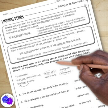 Linking Verbs: Grammar Guide with Worksheets