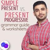 Simple Present vs. Present Progressive Grammar Guide with Worksheets