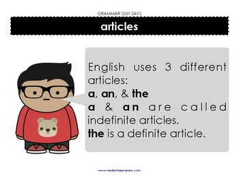 Grammar Guy Says: English articles part of speech minilesson and posters