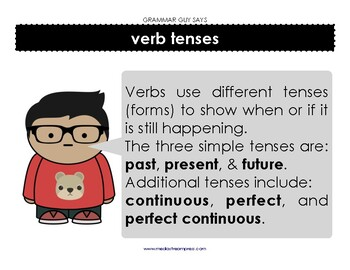 Grammar Guy Says: verb tenses simple and complex minilesson and posters
